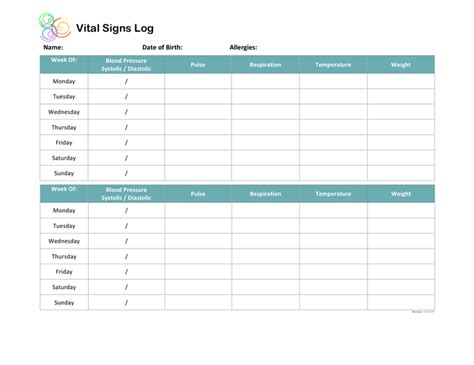 vital signs template vital signs log template in word and pdf formats