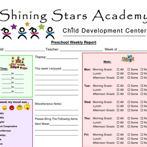 Child Care Report Card Template by Child Care Daily Report Template Card Daycare Report Card