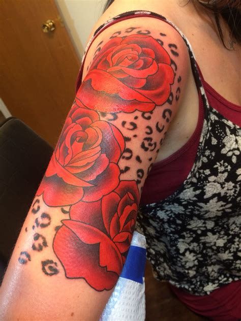 roses and leopard print tattoo my half sleeve of roses and leopard print