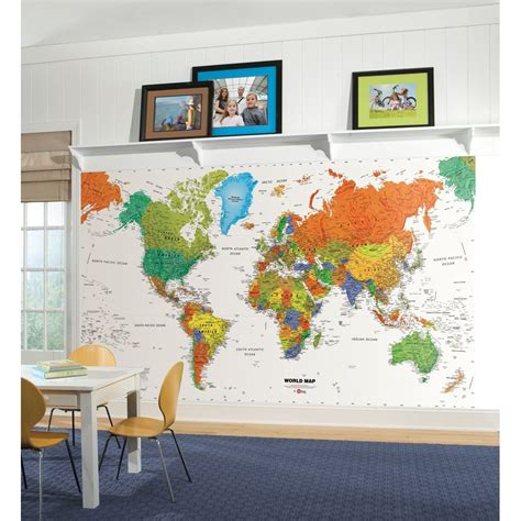 world map wall murals new world map prepasted wallpaper mural room decor classroom decorations ebay