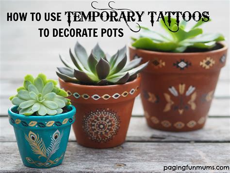 How To Decorate Pot using temporary tattoos to decorate terracotta pots