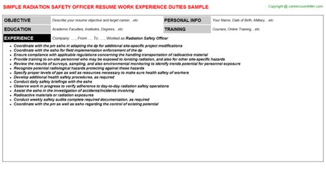 Radiation Safety Officer Cover Letter by Radiation Safety Officer Resume Sle