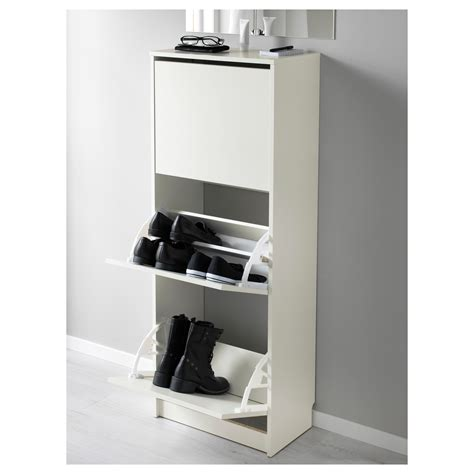 bissa shoe cabinet with 3 compartments white 49x135 cm ikea