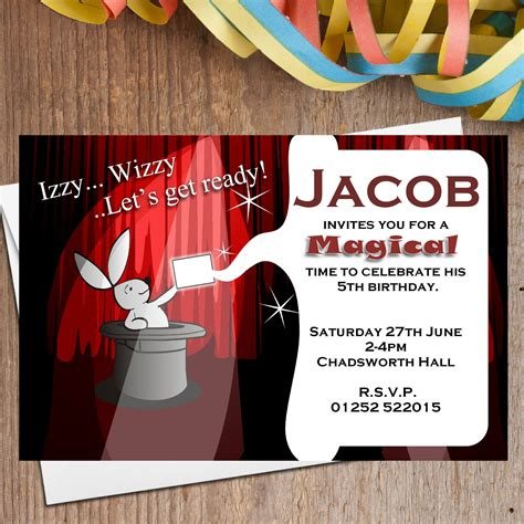 free printable birthday invitations magic theme 10 personalised magic magician birthday party invitations n2