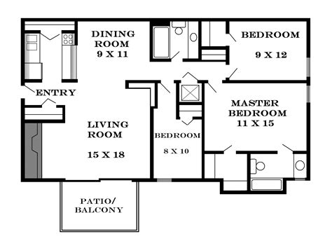 size of 3 bedroom house small size home plans
