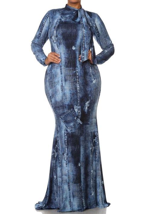 Modena Maxi Washed No Belt plus blue acid wash denim jean print mermaid maxi dress