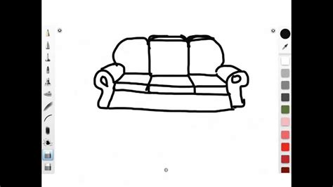 how to draw a couch easy how to draw a simple cartoon sofa 3 youtube