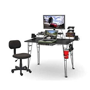 Amazon Com Atlantic Inc Gaming Desk And Task Chair Set In Atlantic Gaming Desk Black