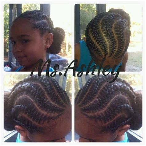 kids hairstyles braided into a bun curvy cornrows into a bun natural kids most popular