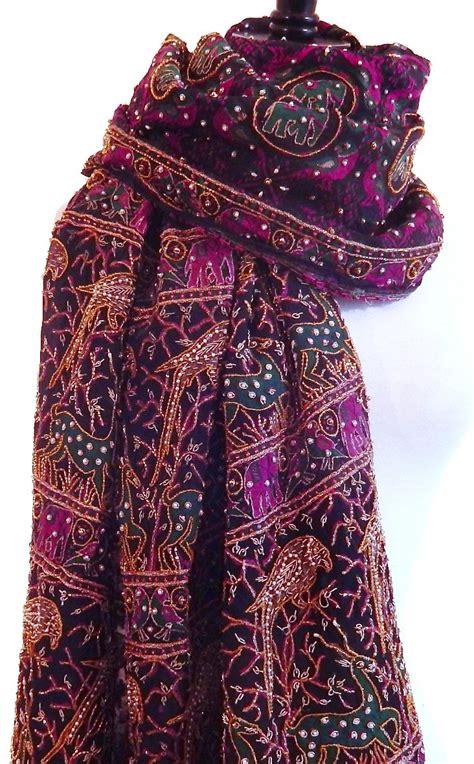 Heavy Beaded Shawl Indian Sari Scarf Black Silk Scarf