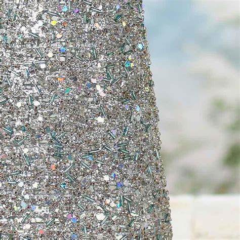 silver sparkling mesh beaded cone tree christmas trees
