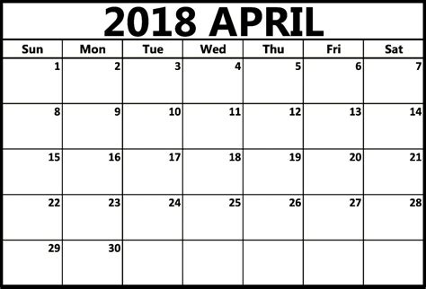 April 2018 Calendar Template Printable Printable Calendar Template 2018