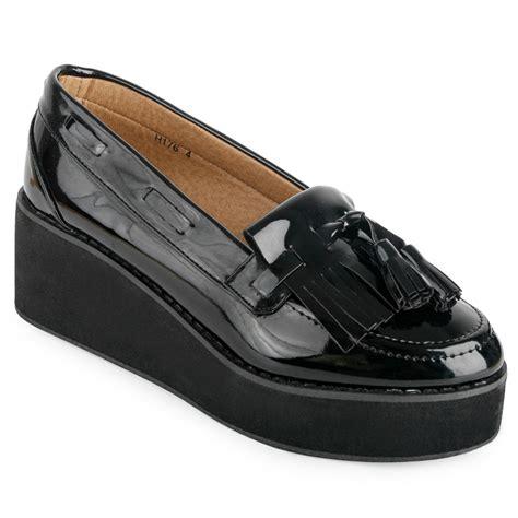 platform loafers uk new womens platform loafer black patent tassel