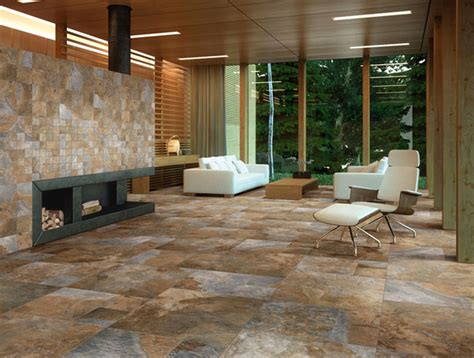 Tiled Living Room Floor Ideas Sintesi Newslate Living Room Rustic Wall And Floor Tile New York By Buytile