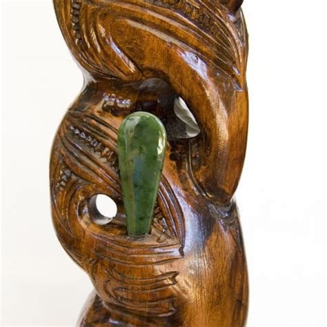 Teko Unique carved teko teko with pounamu kiwitreasure