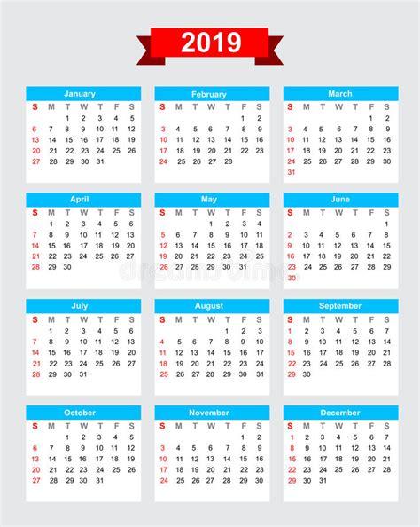 Calendario 2019 Italiano 2019 Calendar Week Start Sunday Stock Vector