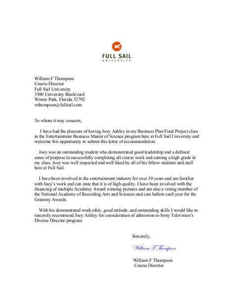 Recommendation Letter From Employer For Master Degree Entertainment Business Capstone Business Plan Recommendation Lett