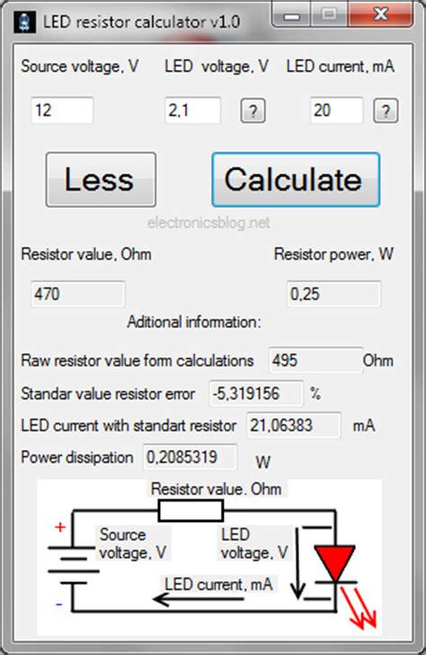 led resistor calculator forward voltage led resistor calculator for windows v1 0 electronicsblog net