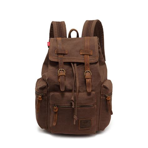 Taupe Color by Vintage Canvas Leather Backpack Rucksack Gentlemensjoggers