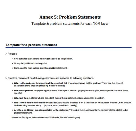 business problem statement template sle problem statement template 8 documents in pdf