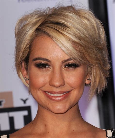 dancing with the stars side swept bang ebony chelsea kane short straight casual hairstyle medium