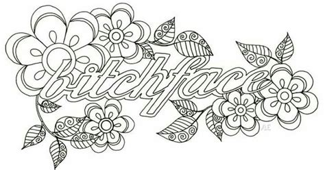 Bitchface Curse Word Coloring Pages Pinterest Adult Swear Word Coloring Pages Printable Free