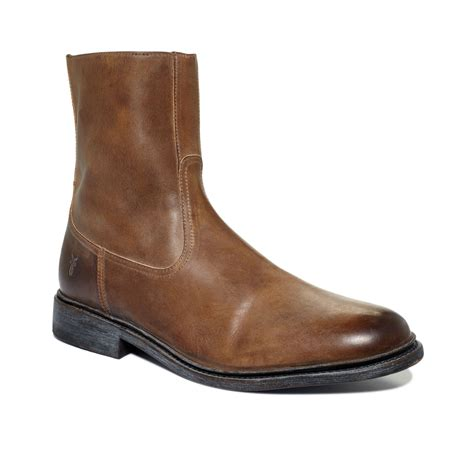 mens boots frye frye inside zip boots in brown for lyst