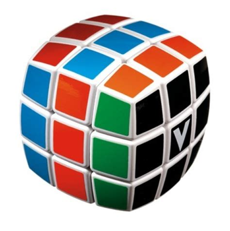 V Cube 5 Pillowed by V Cube 3 White Pillowed Multicolor Cube Puzzle