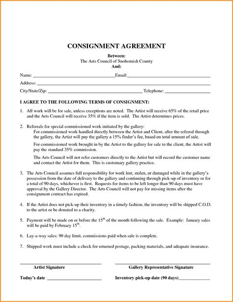 consignor agreement template consignment agreement template word best template