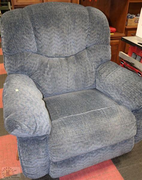 lazy boy upholstery fabric lazy boy blue fabric reclining sofa chair kastner auctions