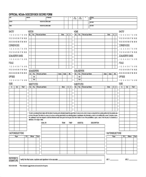 soccer referee score card template soccer referee score card