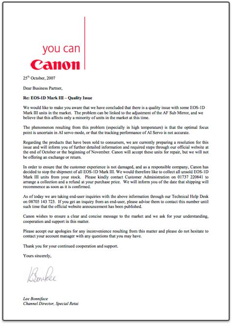 Thank You Letter Car Sales Canon To Halt Sales Of Eos 1d Iii To Uk And Recall