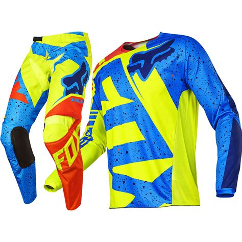 kids motocross gear fox 2017 kids mx new 180 nirv yellow blue jersey pant