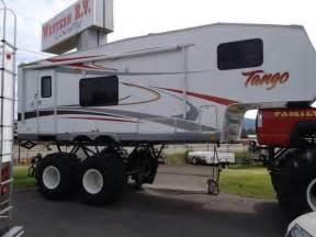 Wheels Truck With Trailer Strange 5th Wheel Truck Trailer Jacked Up Wheels
