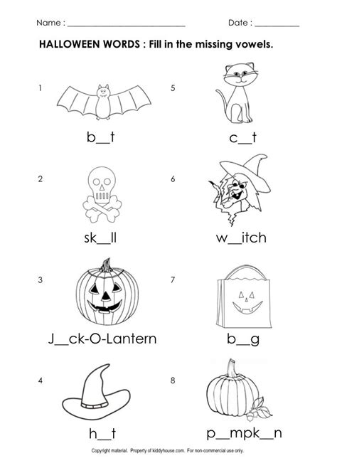 printable worksheets halloween free halloween worksheets fill in the missing vowels