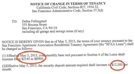 Garage Rent Increase Letter Bernal Heights Tenant Out But Continues To Dispute 400 Percent Rent Increase On The Block