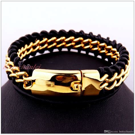 Ap15 G New Design Stainless Leather Bracelet 2018 9 44 cool delicate gold stainless steel bracelet mens