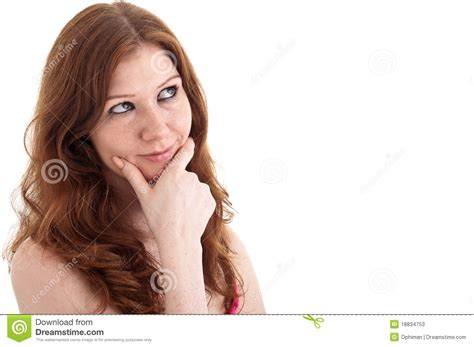 the youngest looking woman young woman looking up and thinking stock photos image