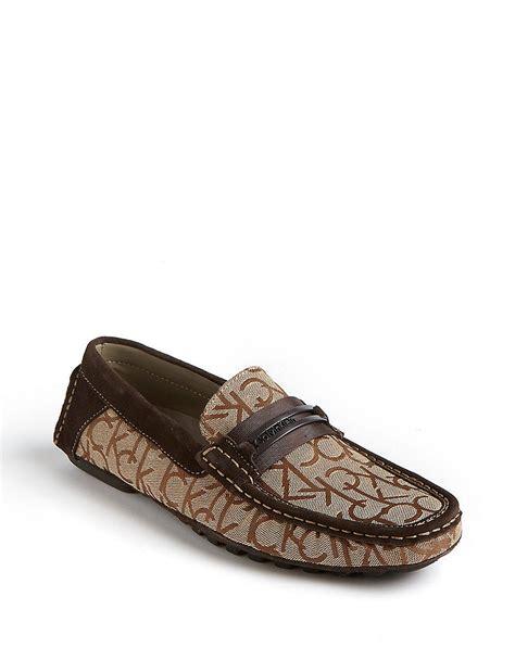 calvin klein loafers calvin klein derek jacquard loafers in khaki for lyst