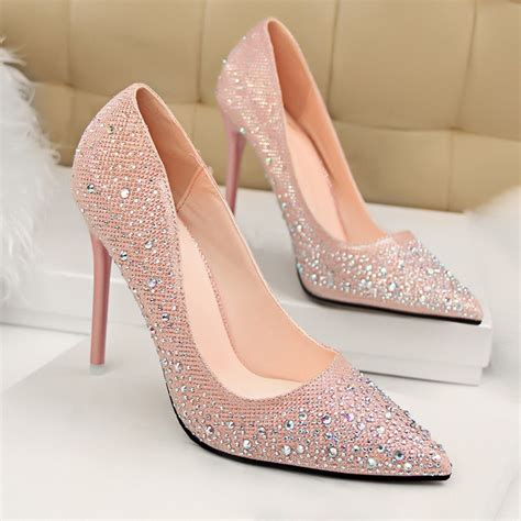 beaded heels pink beaded pointy toe stiletto heel pumps dressywomen