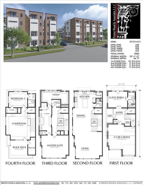 Townhouse Duplex Plans by Townhouse Plan E3153 A3 3 ஃ ᗩ R C H