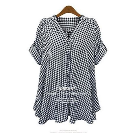 Blouse Shirt Plaid Blouse Resmi Kondangan Casual Dh Blouse Susun 2018 new shirt designs casual stand up collar sleeve plaid fitting blouse plus size