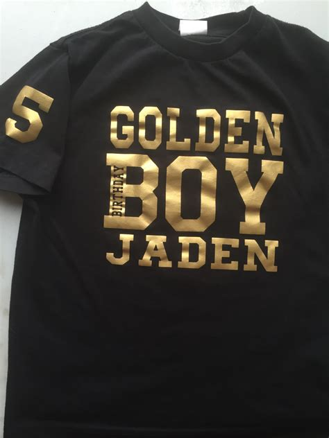 Jackelyn Tops Black golden birthday boy shirt tshirt personalize with name