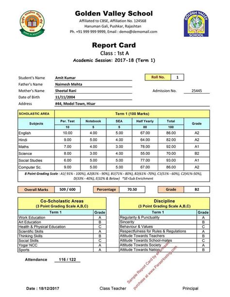 report card cbse report card format for primary classes i to v