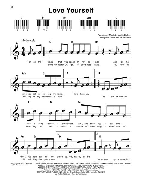 tutorial keyboard love yourself love yourself sheet music by justin bieber super easy