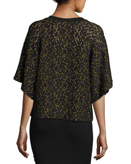 Blouse Fashion Anda school anda butterfly sleeve lace top black yellow