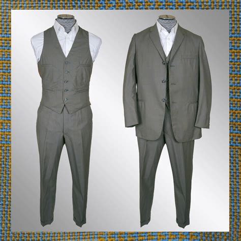 vintage early 60s 3 mens suit 1960s glen check