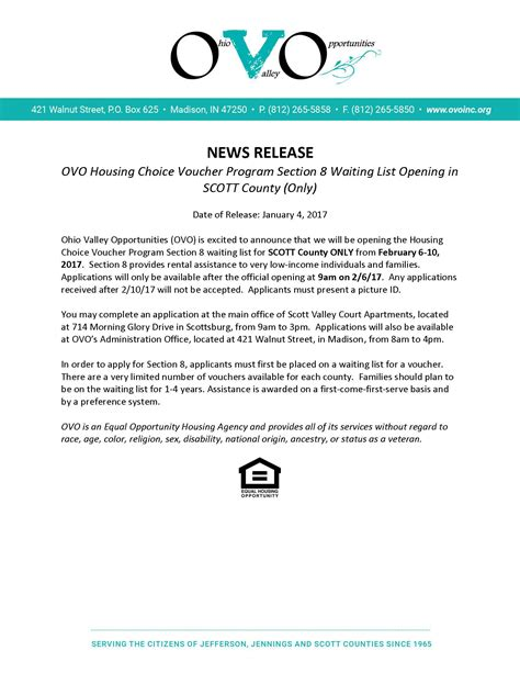 waiting list section 8 home ohio valley opportunities