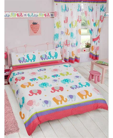 Patchwork Bedding And Curtains - colourful patchwork elephant themed bedding set