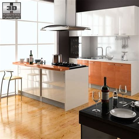 3d model kitchen set 3d model kitchen set 4 vr ar low poly max obj 3ds fbx